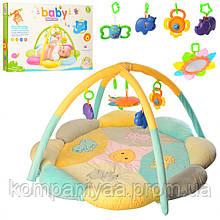 Дитячий розвиваючий ігровий килимок для немовляти з двома дугами і брязкальцями PD310