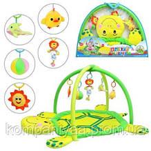 """Дитячий ігровий килимок для немовляти з підвісками """"Черепаха"""" 898-12 B / 0228-1 R"""
