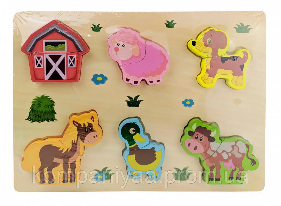 Детская деревянная развивающая Рамка-вкладыш MD 1186 (Ферма)