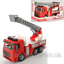 Игрушечная инерционная пожарная машина с лестницей со светом и звуком 98-616AUt (Красный)