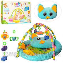 Дитячий ігровий килимок для немовляти з подушкою і брязкальцями PE905