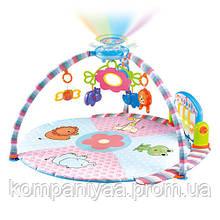 Дитячий музичний ігровий килимок для немовляти з дугою і підвісками PA618