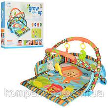 Дитячий музичний ігровий килимок для немовляти з двома дугами і брязкальцями D106