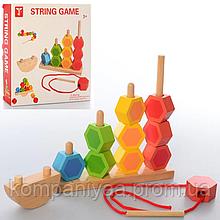 Детская развивающая деревянная игрушка Пирамидка MD 2488