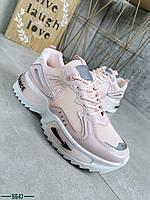 Жіночі кросівки на шнурівці з еко шкіри 37,39 р пудра, фото 1