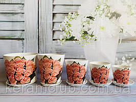 Набір квіткових горщиків Керамклуб №3 Букет троянд