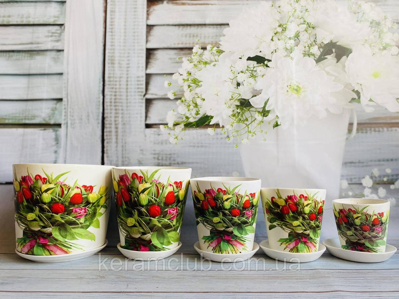 Набор цветочных горшков Керамклуб №4 Букет тюльпанов