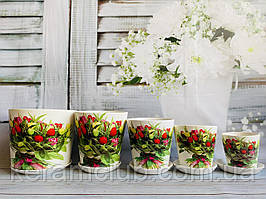 Набір квіткових горщиків Керамклуб №4 Букет тюльпанів