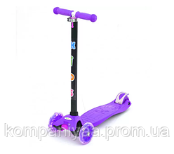 Детский трехколесный самокат BB 3-013-4-H светящиеся колеса (Фиолетовый)