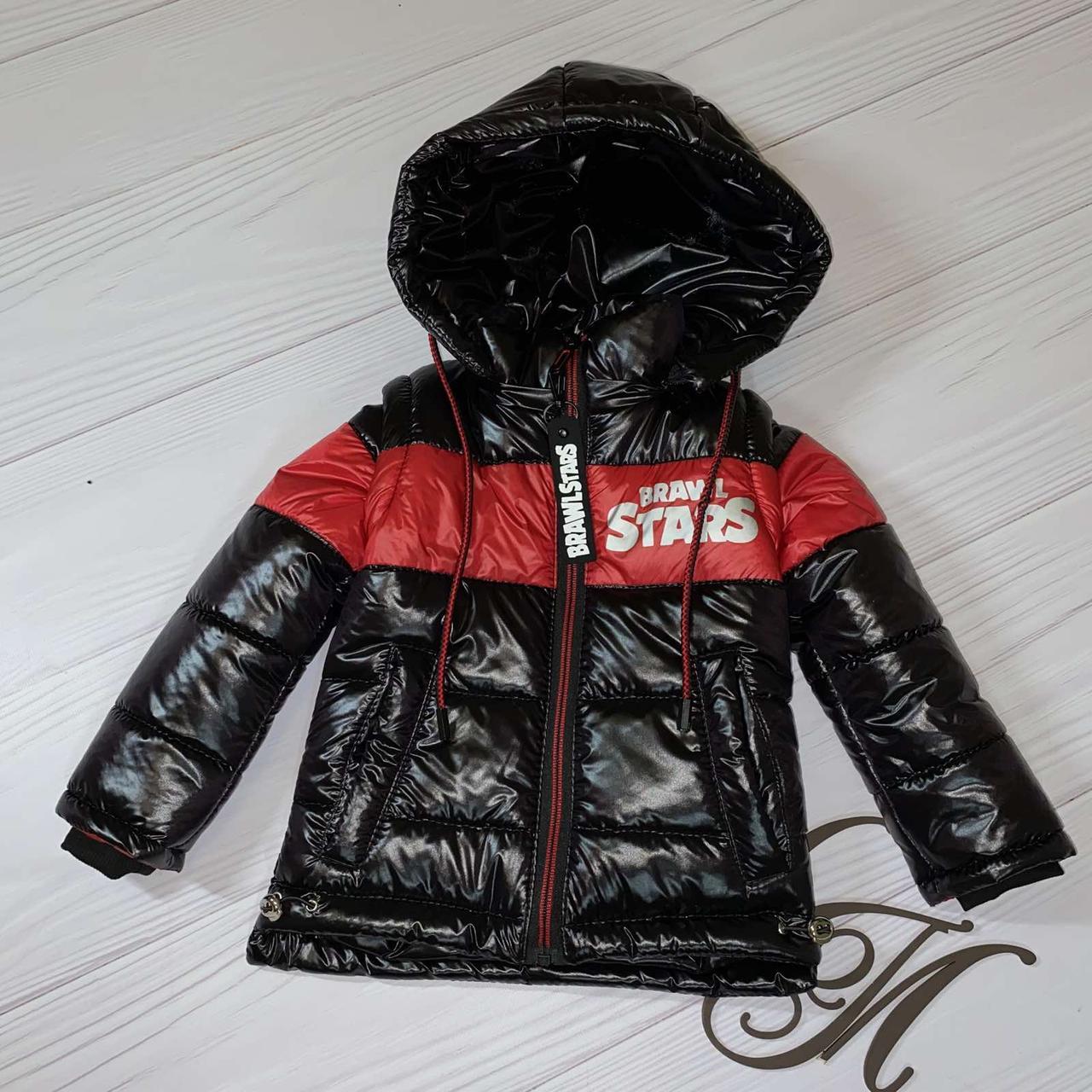 """Куртка жилет для мальчика весна """"Даник"""" черный с красным 92"""