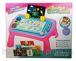 Дитяча дощечка-столик для малювання зі штампами 009-2023-5 (Рожевий)
