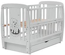 Кровать Babyroom Собачка, маятник, ящик, откидной бок, бук серый 625294