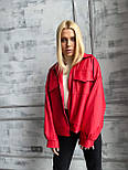 Демисезонная куртка кожанка короткая с отложным воротником и накладными карманами (р. 42-46) 7201594, фото 3