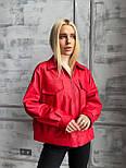 Демисезонная куртка кожанка короткая с отложным воротником и накладными карманами (р. 42-46) 7201594, фото 6