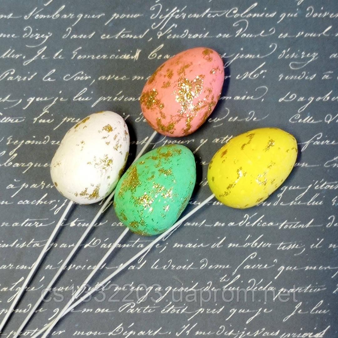 Декор яйці на палічці (жовте)