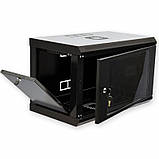 Шкаф 6U, 600x350x373мм (Ш * Г * В), эконом, акриловое стекло, чёрный, фото 2