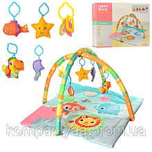 Дитячий ігровий килимок для немовляти з дугою і брязкальцями JL630-1D