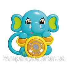 """Детская интерактивная погремушка """"Слон Бирюзовый"""" 855-58-59-60-61A с музыкой и светом"""