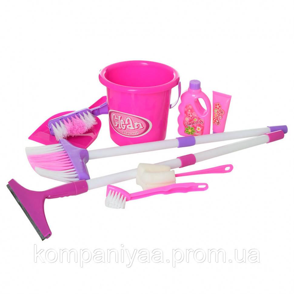 Детский игрушечный набор для уборки с ведром и метлой 667-16