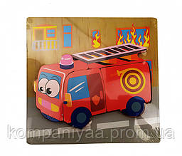 Детские деревянные развивающие пазлы MD 0904 (Пожарная машина)