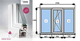 Металлопластиковое окно REHAU SYNEGO фурнитура Масо (австр.) 1700*1300мм 2 камеры +энерго +аргон +мультистекло