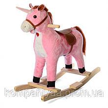 Дитяча конячка качалка MP 2163 зі звуковими ефектами (Рожева)