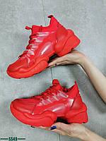 Жіночі кросівки на шнурівці з еко шкіри 36-41 р червоний, фото 1