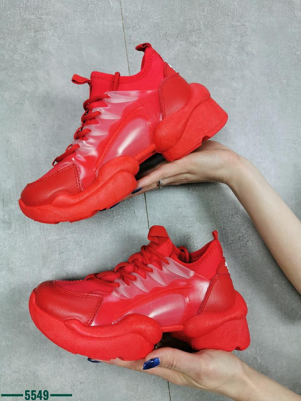 Жіночі кросівки на шнурівці з еко шкіри 36-41 р червоний