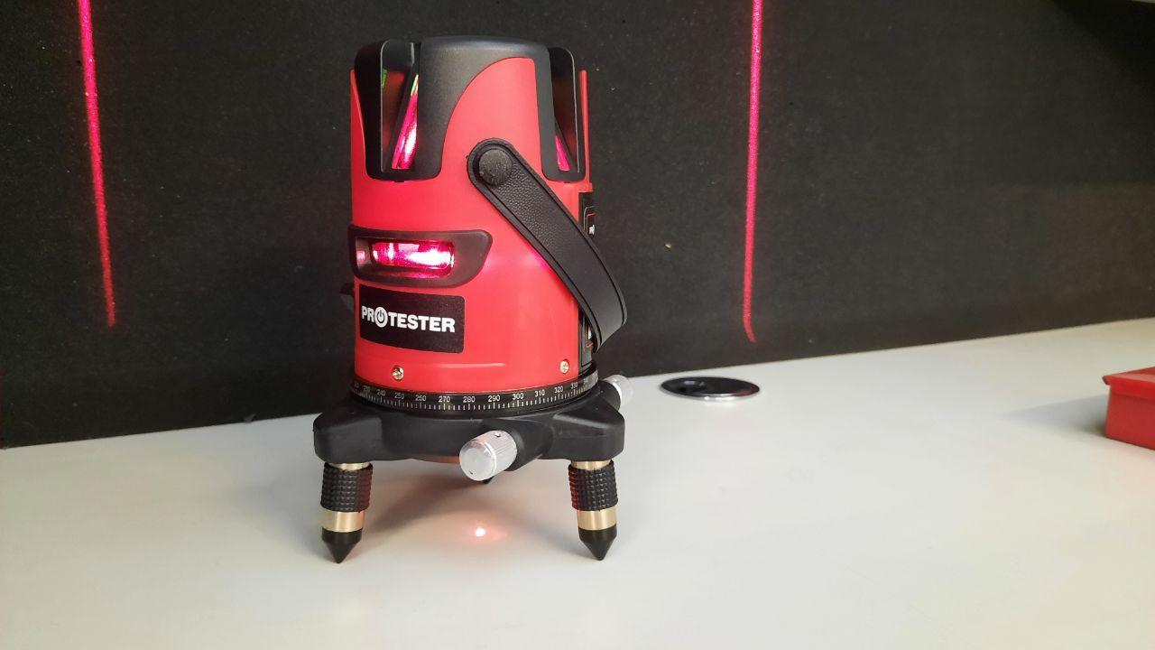 Лазерный уровень для дома, красный луч 5 линий на поворотном лимбе PROTESTER LL605R