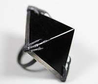 "Серебряное кольцо ""Черная пирамида"" с обсидианом от WickerRing"