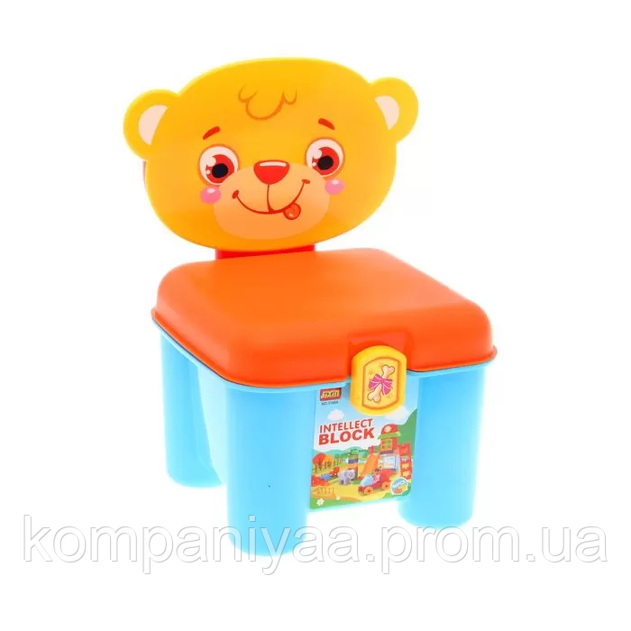"""Дитячий конструктор """"Ведмедик"""" з великими деталями в валізі-стільчику 3166A (46 деталей)"""