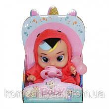 """Дитяча маленька лялька """"Червоний папуга"""" з пляшкою і соскою QS722"""