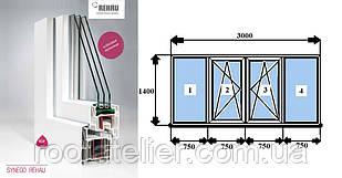 Металлопластиковое окно REHAU SYNEGO фурнитура Масо (австр.) 3000*1400мм 2 камеры +энерго +аргон +мультистекло