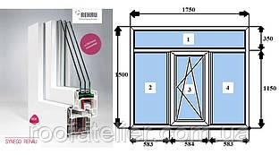 Металлопластиковое окно REHAU SYNEGO фурнитура Масо (австр.) 1750*1500мм 2 камеры +энерго +аргон +мультистекло