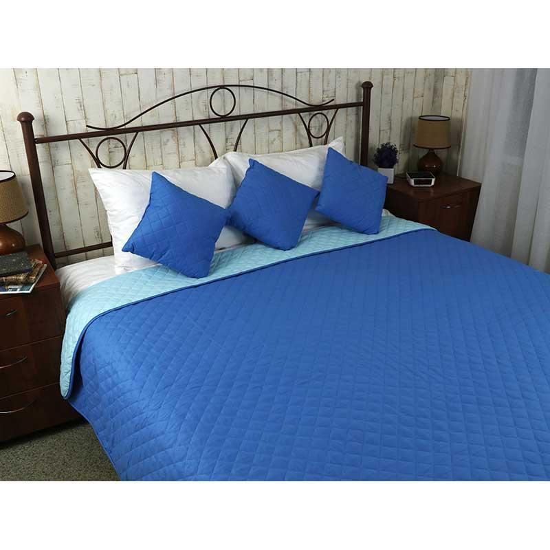 Покрывало на кровать, диван Руно Синее 150х212 двустороннее полуторное