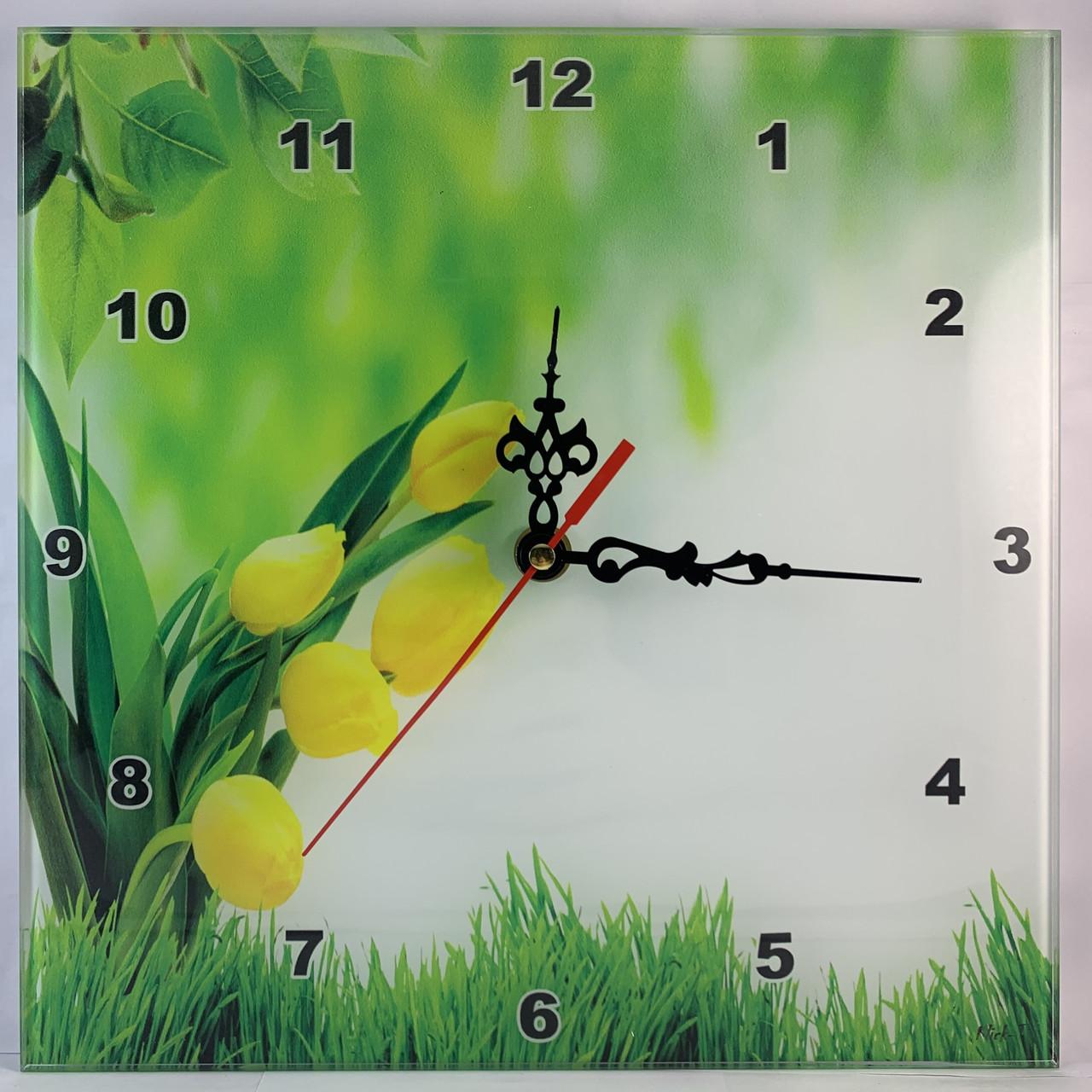 """Часы настенные квадратные """"Весняні тюльпани"""" Klick-Style"""
