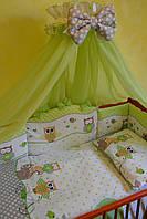 """Постельный набор в детскую кроватку """"Совята""""  салатовый, фото 1"""