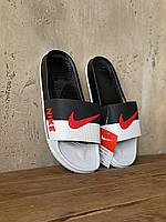 Шлепки мужские Nike черно-белые с красным, Найк, резиновые. Код Z-241