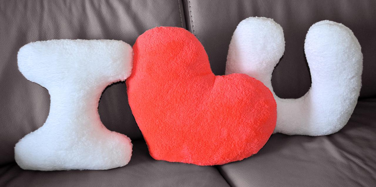"""Набор подушек """"I LOVE YOU"""" с коралловым сердцем. Подарок на 14 февраля"""