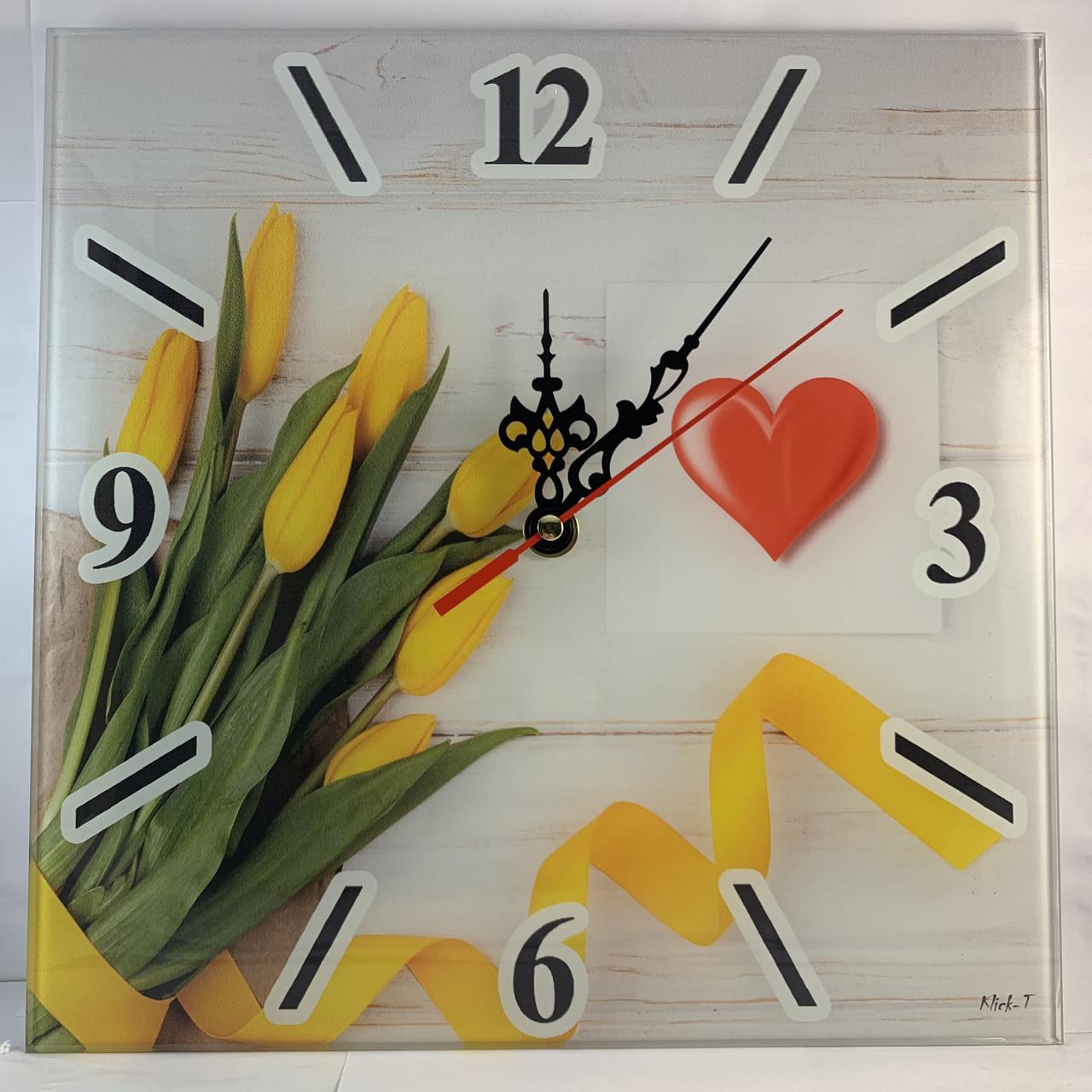 """Часы настенные квадратные """"Жовті тюльпани"""" Klick-Style"""