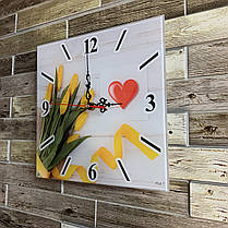 "Часы настенные квадратные ""Жовті тюльпани"" Klick-Style, фото 2"
