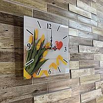 "Часы настенные квадратные ""Жовті тюльпани"" Klick-Style, фото 3"
