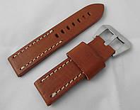 Ремешок к часам ALFA, кожаный, матовый, анти-аллергенный, цвет коричневый