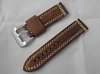 Ремешок к часам ALFA, кожаный, матовый, анти-аллергенный, цвет коричневый хаки