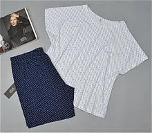 Пижама женская батал Este футболка и шорты вискоза.
