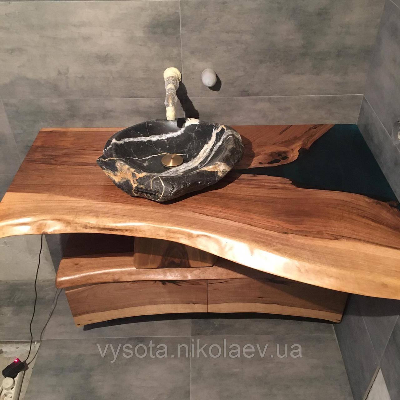 Стільниця - тумба з підсвічуванням у ванну кімнату з підсвічуванням з дерева Горіх