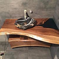 Стільниця - тумба з підсвічуванням у ванну кімнату з підсвічуванням з дерева Горіх, фото 1