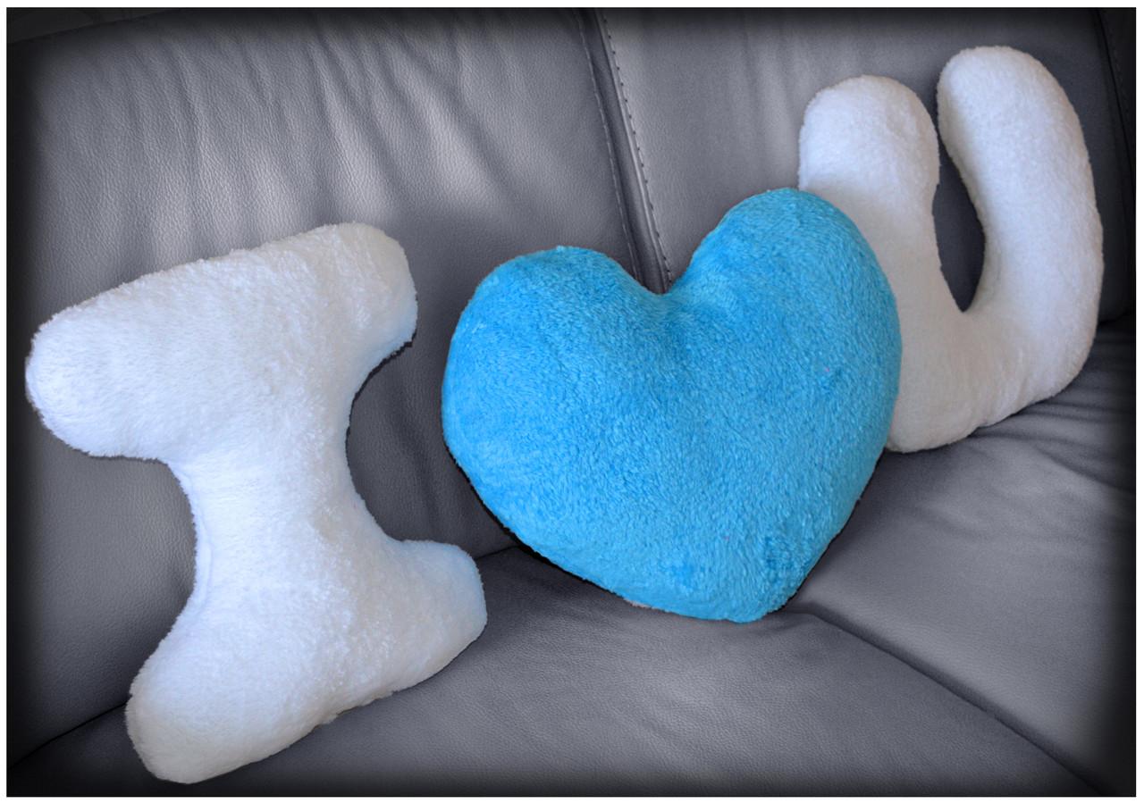 """Набор подушек """"I LOVE YOU"""" с голубым сердцем"""