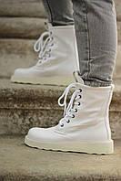 Женские демисезонные ботинки B*ttega Veneta Boots Белые, Реплика Люкс
