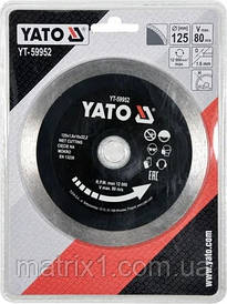 Диск алмазный отрезной сплошной по стеклу и керамике, 125 х 1.6 х 10 х 22.2 для мокрой  резки YATO